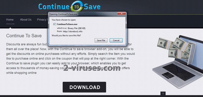 """""""Continue to Save"""" virusas"""